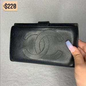 Chanel Black CC Caviar Leather RARE Long Wallet